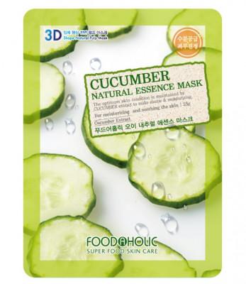 Тканевая 3D маска с экстрактом огурца FoodaHolic Cucumber Natural Essence Mask 23мл: фото