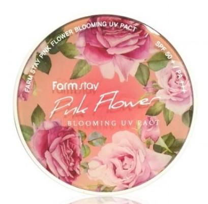 Пудра компактная с экстрактами цветов FARMSTAY Pinky flower blooming UV pact SPF50 12г*2шт: фото