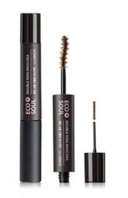 Тушь для ресниц с двумя щеточками THE SAEM Eco Soul Double King Mascara 02 Pink brown 6мл*2,5мл: фото