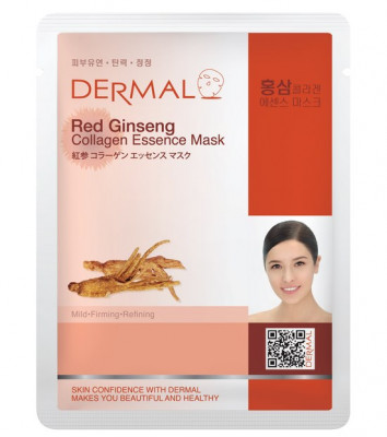 Тканевая маска женьшень и коллаген Dermal Red Ginseng Collagen Essence Mask 23 мл: фото