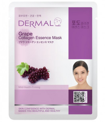 Тканевая маска виноград и коллаген Dermal Grape Collagen Essence Mask 23 мл: фото