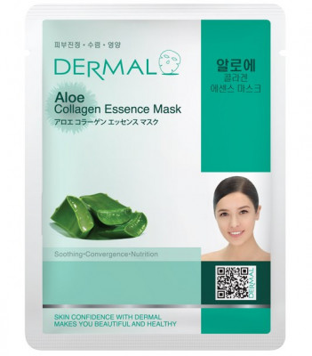 Тканевая маска алоэ и коллаген Dermal Aloe Collagen Essence Mask 23 мл: фото